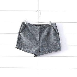 Forever 21 Blue Black Metallic Tweed Dress Shorts